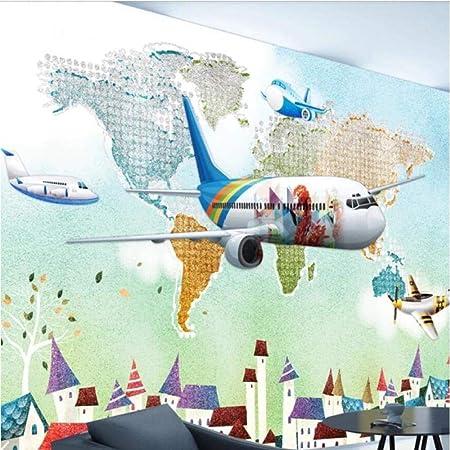 Papel Pintado 3D Acuarela Mapa Del Mundo Aviones Papel Tapiz ...