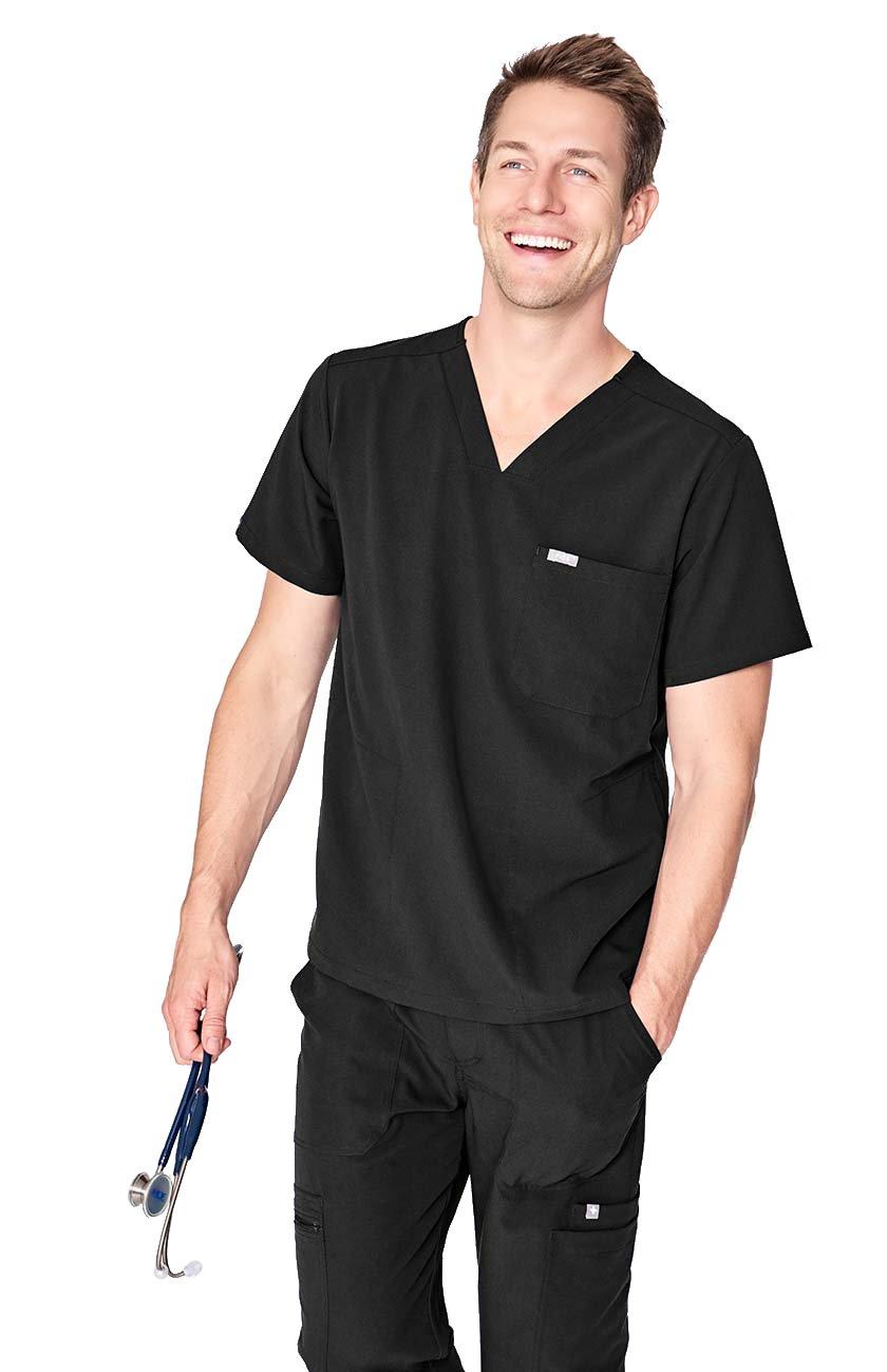 FIGS Medical Scrubs Men's Chisec Three Pocket Top (Black, XS) by FIGS (Image #1)