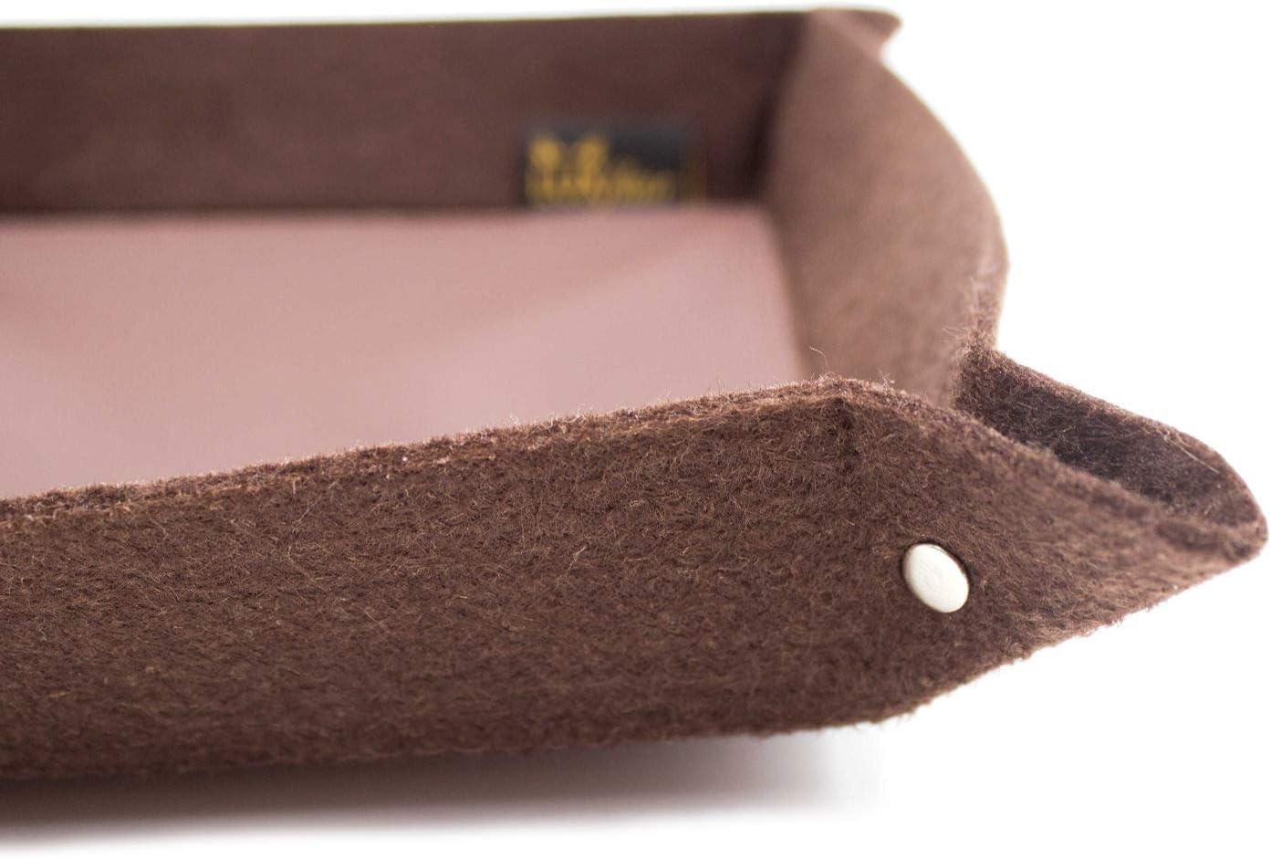 Schl/üsselablage Filzbox in 20x20cm Ablageschale Aufbewahrungskorb Filz Hosentaschendepot in braun mit Echt-Leder-Boden ideal f/ür Schmuck Taschenleerer Kosmetik Kleingeld Servierschale