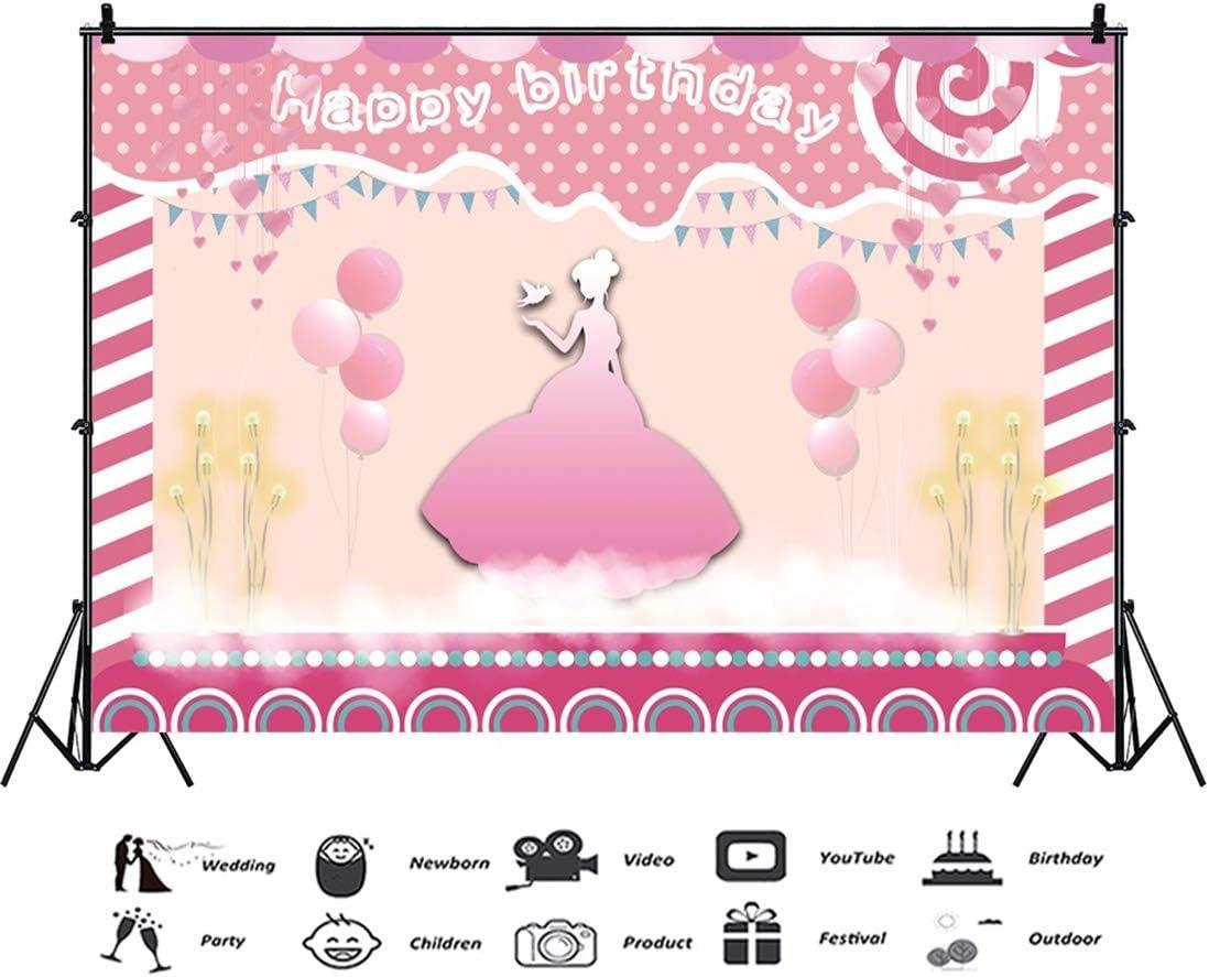 Yeele Birthday 10x8ft Photography Background Princess Bird Pink Fantasy Balloon Stage Lollipop Girl Birthday Party Photo Backdrop Baby Child Portrait Shooting Studio Props Wallpaper