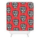 "Deny Designs Andi Bird Sugar Skull Fun Red Shower Curtain, 69"" x 72"""