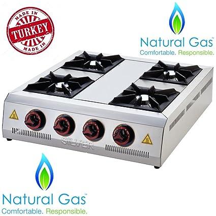 Natural Gas Industrial Commercial Kitchen Equipment Heavy Duty Rangetop 4 Burner Cooktop Countertop Multipurpose Plate