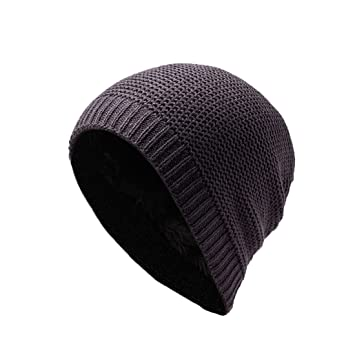 77119e4a7da8 LAOWWO Sombrero de gorro de punto llanura de invierno con franela para  hombre gorro clásico de ocio 4 colores de gorro de lana para hombre
