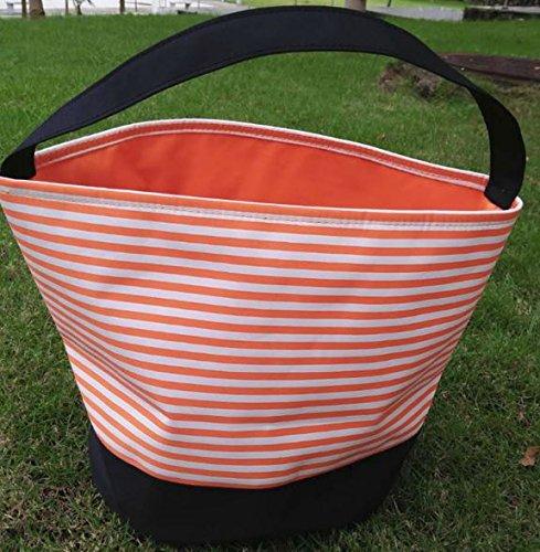 Halloween Candy Bag Trick or Treat Bags - Reusable durable handled bag design - Dots, Stripes, Skulls, Bats, Canvas and Bucket Basket by Jolly Jon (Orange & White Stripes)