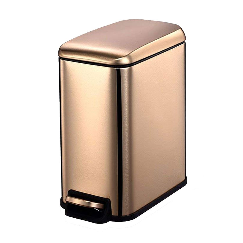 Jueven Stainless Steel Pedal 5L Trash Can Home Creative Bathroom Narrow Living Room Bedroom Covered Carbon Steel Trash Can (Color : Gold)