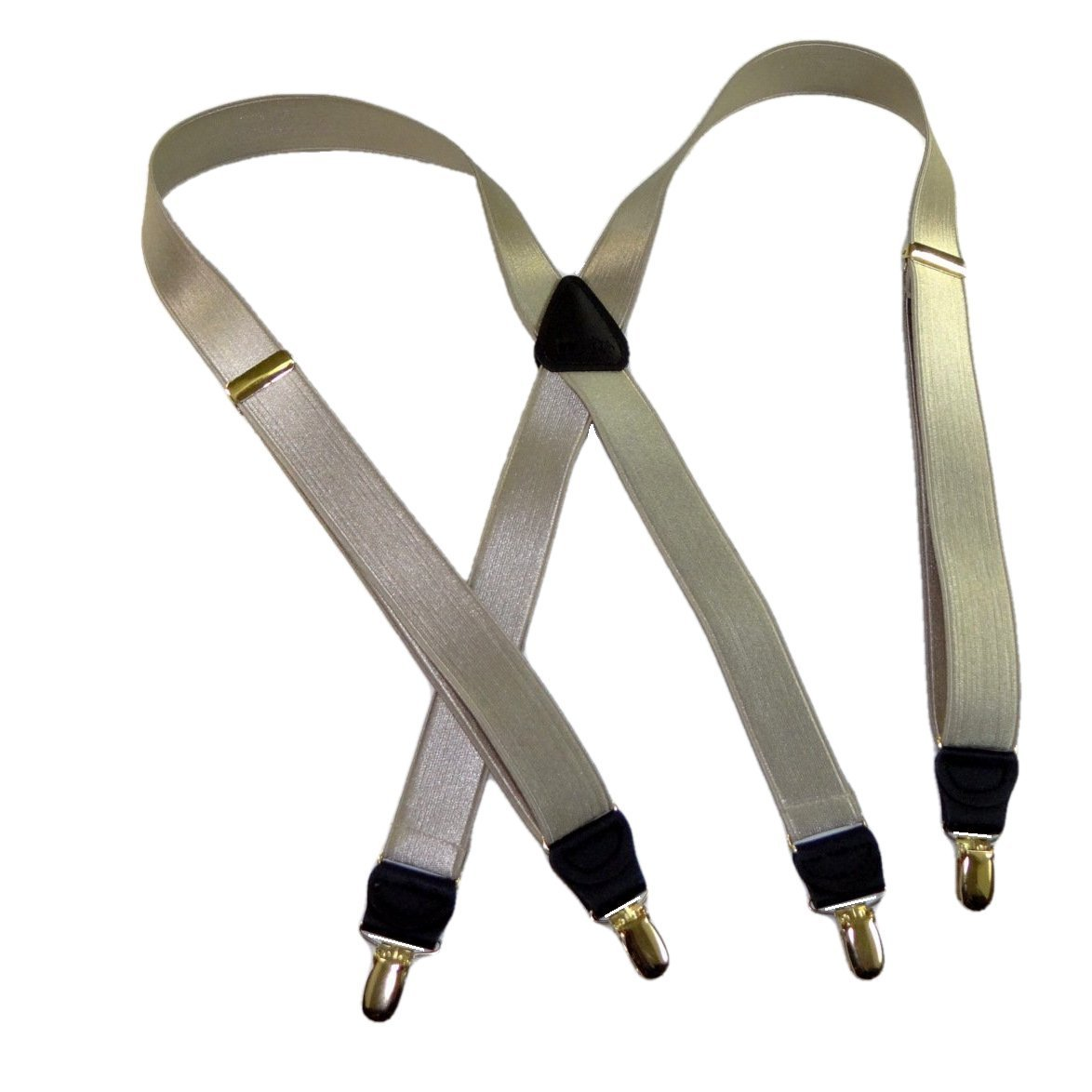 Holdup Brand XL Champagne Golden Tan Color Clip-on X-back Suspenders with Gold-tone No-slip Clips