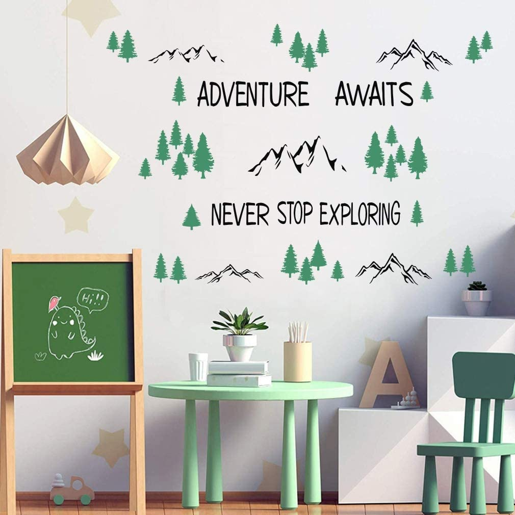 TOARTi Inspirational Quotes Wall Decals,Never Stop Exploring- Adventure Awaits Wall Stickers, Trees Mountain Nature Wall Art for Classroom Playroom Nursery Home Decor