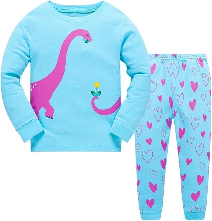 Girls Pajamas Kids 2 Piece Pink Ladybug Sleepwear Blue Dinosaur Clothes
