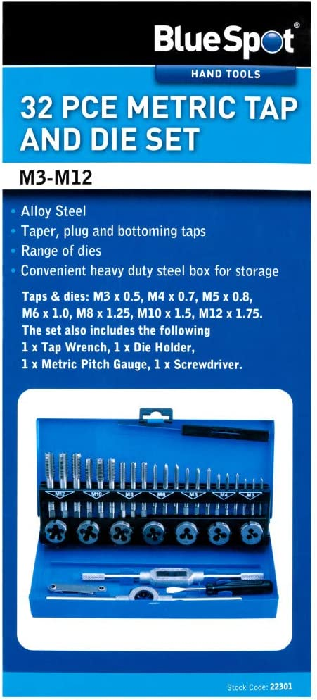 BlueSpot Tools 22301 32PCE Metric Tap and Die Set M3-M12
