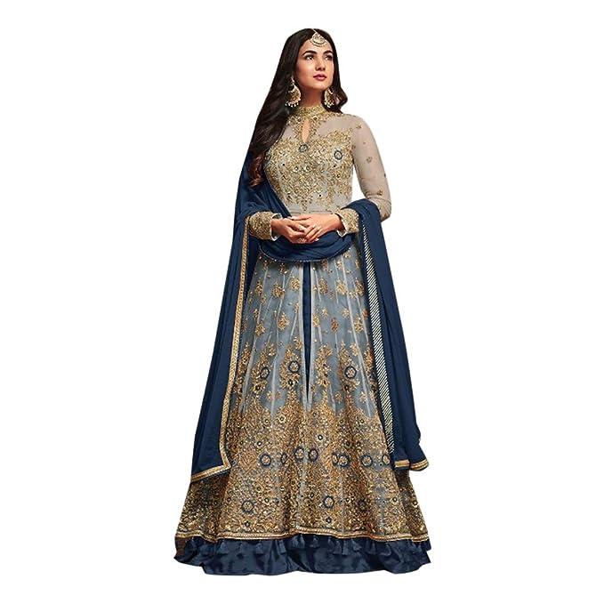 Amazon.com: Traje largo étnico indio Salwar Kameez con falda ...