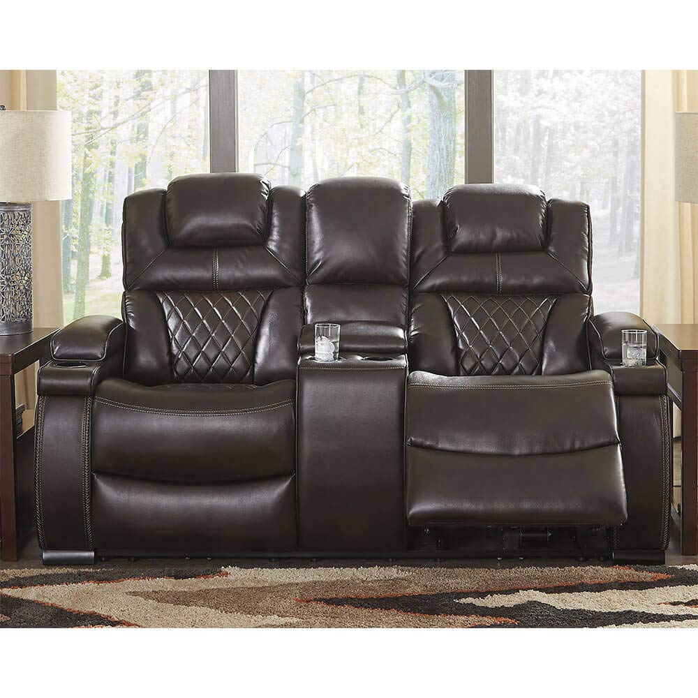 Signature Design by Ashley 7540718 Warnerton Power Reclining Loveseat with Console, Chocolate