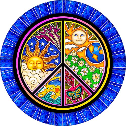 Peace Sign Earth Sun Moon Butterfly Dolphin Spare Tire Cover for Jeep RV Camper VW Trailer etc(Select popular sizes from drop down menu or contact us-ALL SIZES AVAILABLE)225-75r15