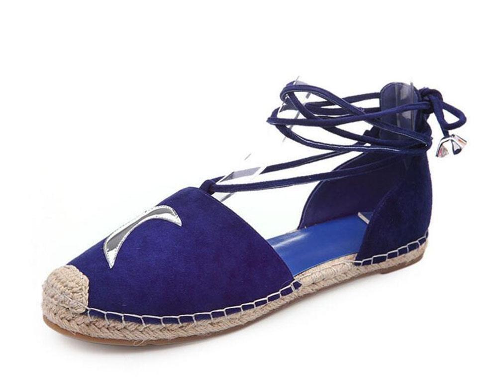 bleu 37 EU Chaussures plates Chaussures à cheville D'Orsay Chaussures en cuir pour dents en peau de mouton Sandales en cuir