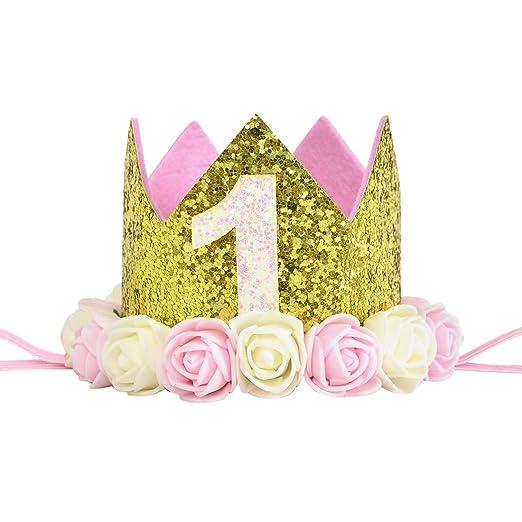 Baby Crown 1er cumpleaños Decoraciones para Rosa y dorado ...
