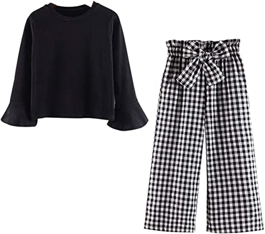 FTSUCQ Girls Beauty Pattern Shirt and Pants Cropped Trousers Two-Piece Sets
