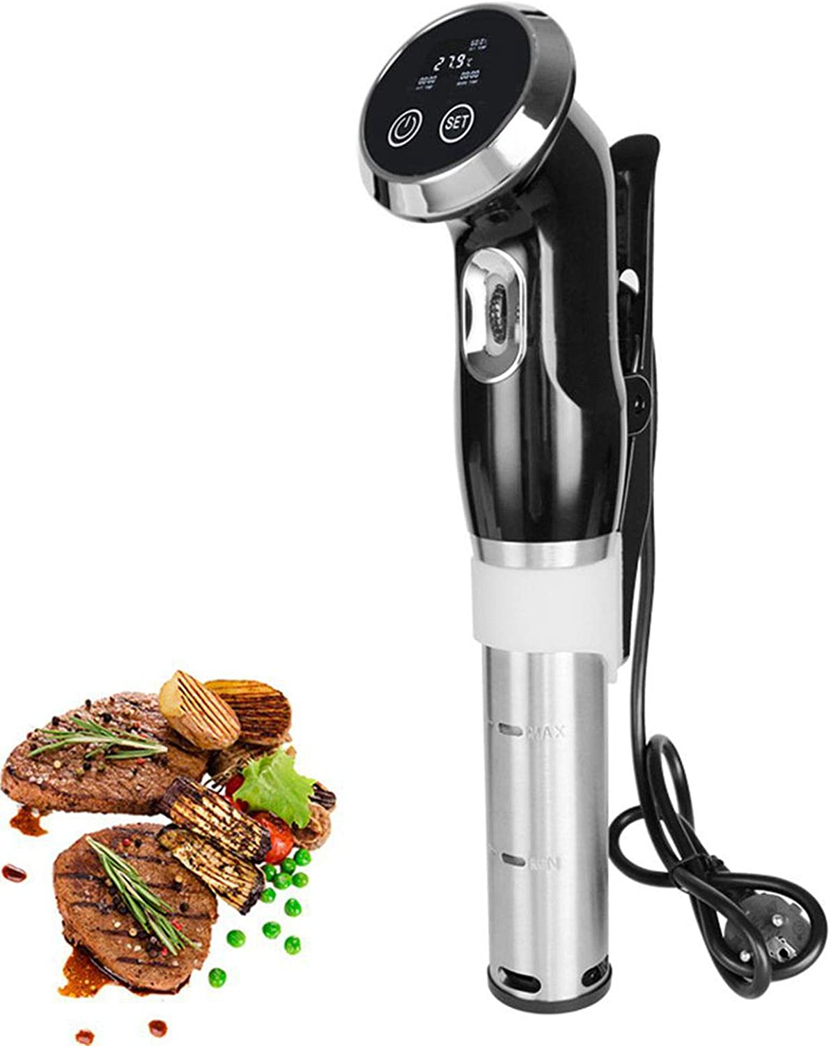 Sous Vide Cooker 1500W Immersion Circulator Vacuum Food Cooker with Adjustable Clamp and LCD Digital Touch Display (110V, US Plug)