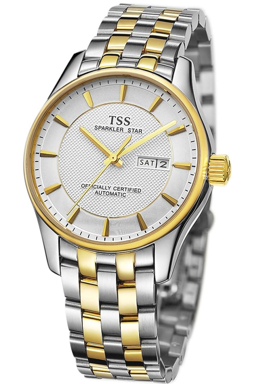 TSS Herren Weiß Zifferblatt Golden Hand Edelstahl zweifarbig Band automatische Bewegung Armbanduhr
