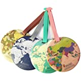 King&Pig 4pcs World Map Luggage Tags Suitcase Luggage Tags Travel Accessories Baggage Name Tags (map)