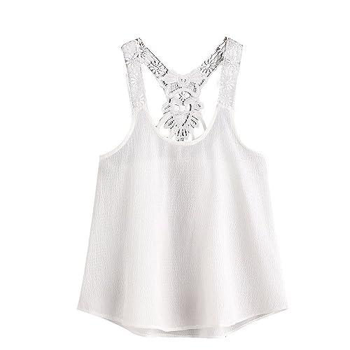 VENMO Mujeres Camiseta tirantes de Encaje superior Camisa Gasa Casual sin mangas Top