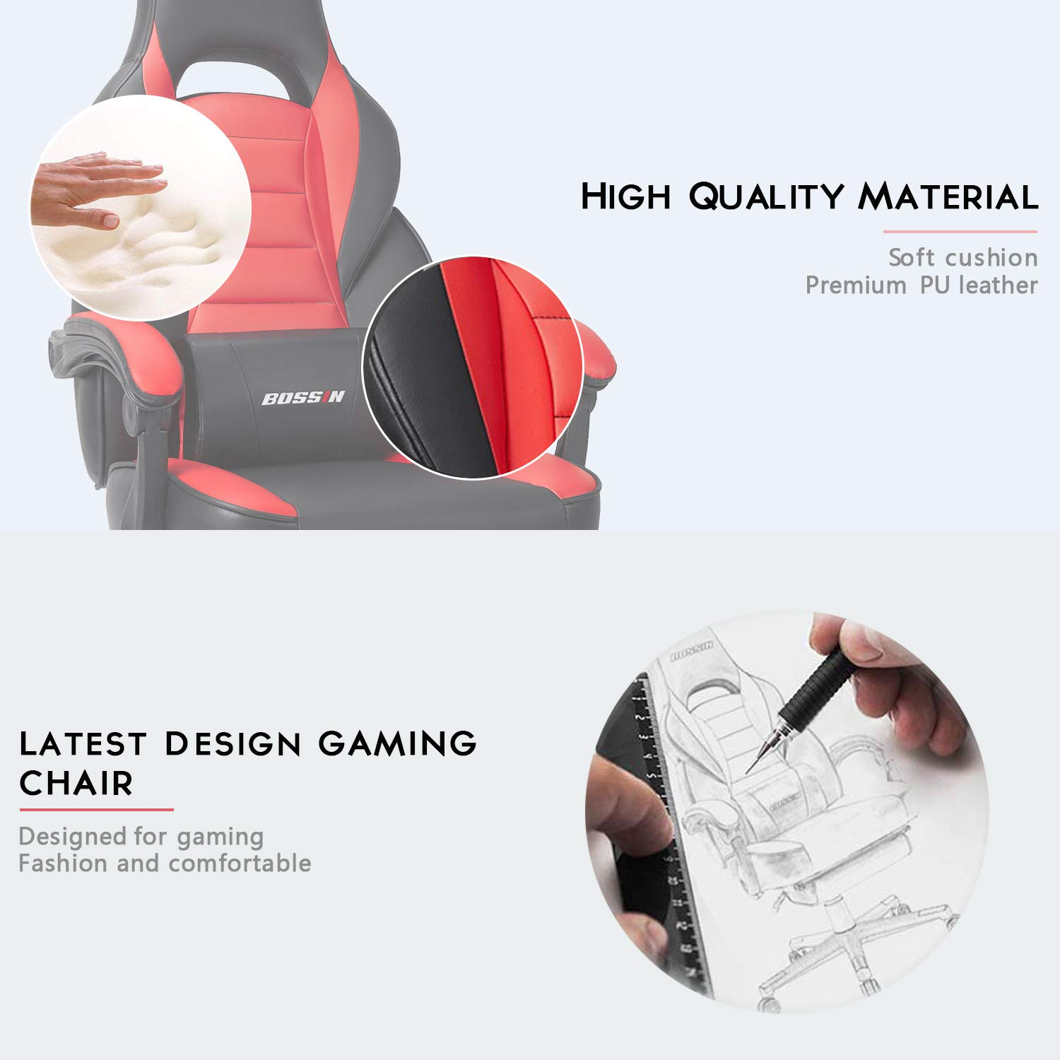 BOSSIN Racing Style Gaming Chair Computer Desk Chair with Footrest and Headrest Ergonomic Design Large Size High-Back E-Sports Chair PU Leather Swivel Office Chair Red