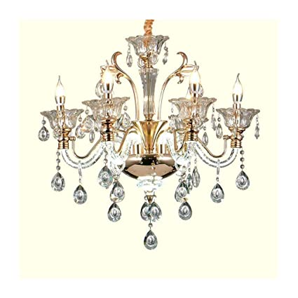A-ZHP Lámparas de araña Candelabro Cristal Europeo Velas E14 ...