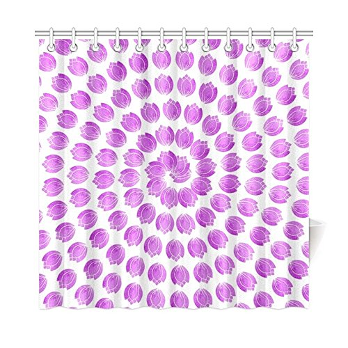 WIEDLKL Home Decor Bath Curtain Flowers Purple Spiral Pattern Polyester Fabric Waterproof Shower Curtain For Bathroom, 72 X 72 Inch Shower Curtains Hooks ()