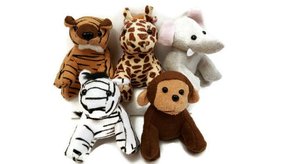 Playscene Suede Jungle / Zoo Animals, Assorted Suede Plush Jungle Animals (12 Piece Set) by Playscene