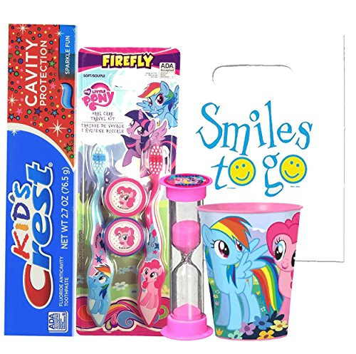 My Little Pony 7pc Bright Smile Oral Hygiene Set! 2pk Toothbrush, Cap, Toothpaste, Brushing Timer & Mouthwash Rinse Cup! Plus Dental Gift Bag & Tooth Saver Necklace!