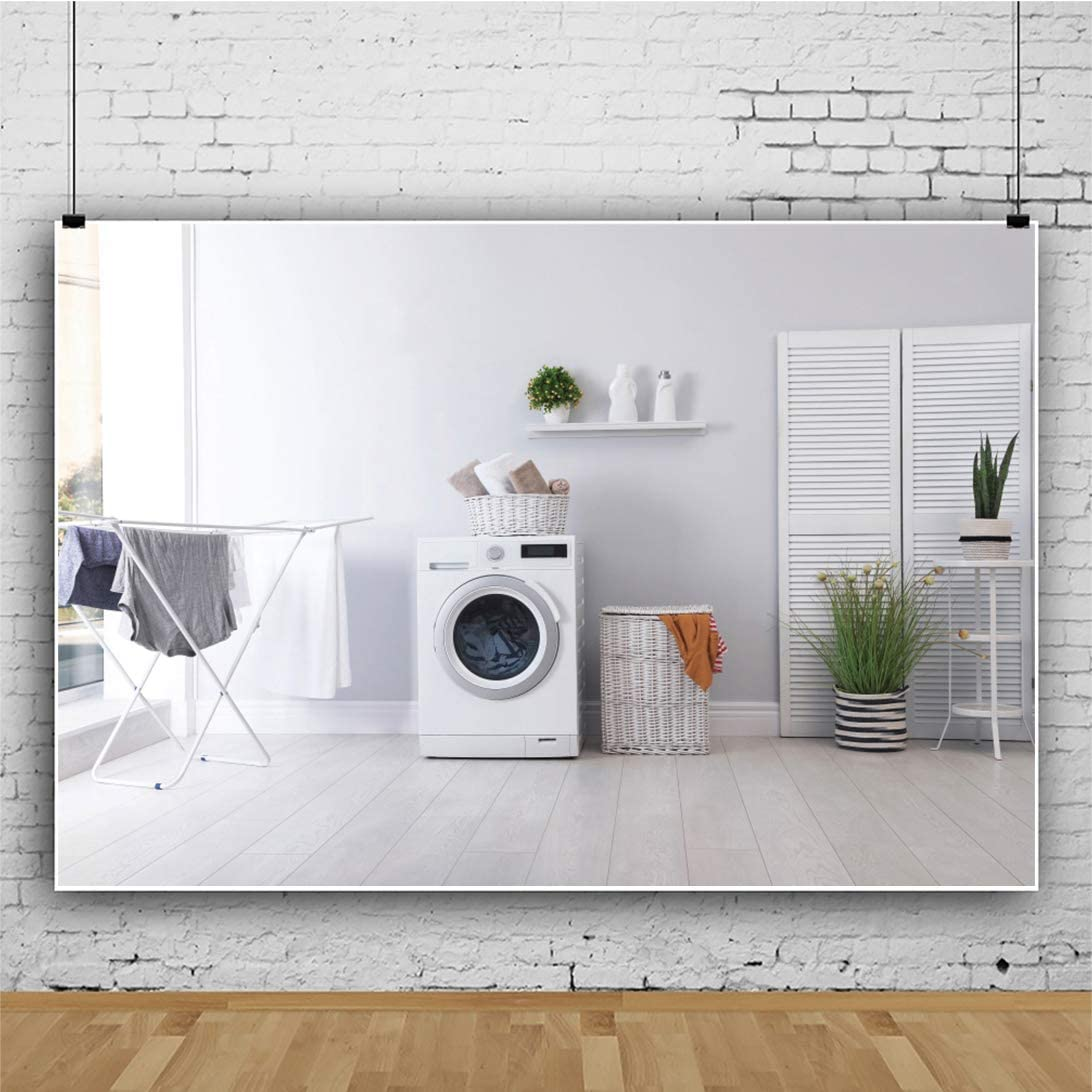 YEELE Interior Home Photography Backdrop 10x8ft Laundry Room with Washing Machine Background House Home Decoration Kids Adults Portrait Photo Studio Props Digital Wallpaper