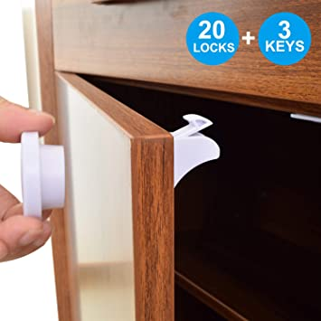 3 Keys /& 20 Locks TOOLIC Magnetic Child Safety Locks Kits for Cabinet Drawer Cupboard Door Baby Proof Invisible No Drilling Design