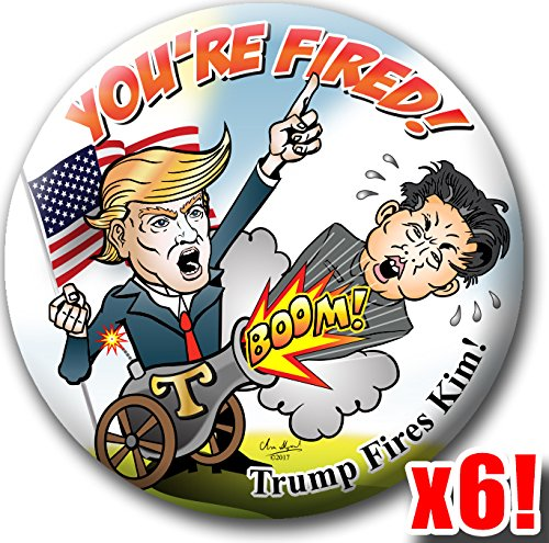 Amazon Com Trump Fires Kim Jong Un Political Satire Button Gag