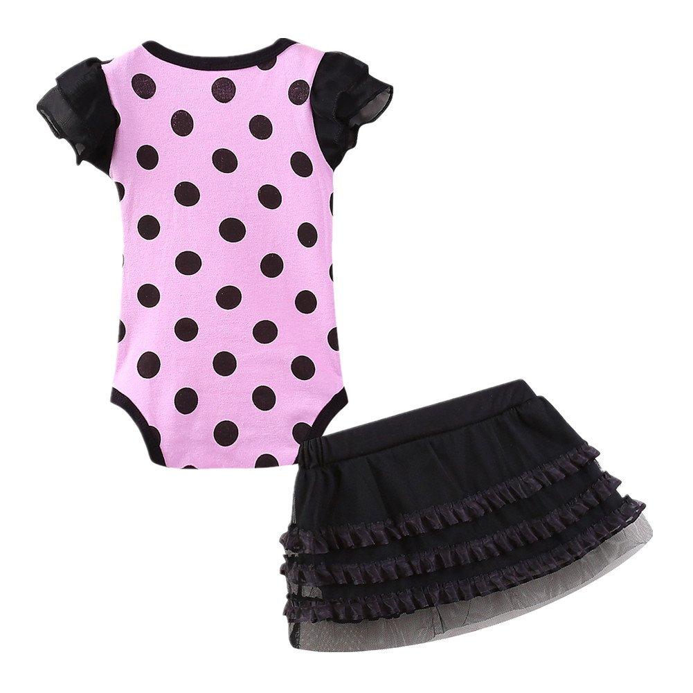 LittleSpring Baby Girls Bodysuit Skirt Sets Dot Size 6M US Pink