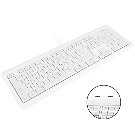 Macally Full Size USB Wired Computer Keyboard with Built-In 2-Port USB Hub  - Perfect for your Mouse & 16 Apple Shortcut Keys for Mac OS, Apple iMac,