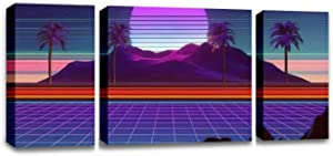 CCArtist 3D Inspired by 80's Scene, synthwave and retrowave Music Wall Decoration Print Photo on Canvas Modern Photography Home Decor Modern Canvas Painting Wall Art
