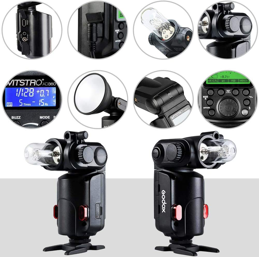 GODOX Witstro AD360II-C TTL 2.4G GN80 HSS 1//8000s 360W Outdoor Powerful Portable Flash Speedlite Strobe Light 4500mAh PB960 for Canon EOS Camera AD360II-C