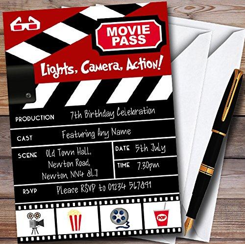 10 x Movie Night Theatre Film Cinema Personalized Childrens Birthday Party Invitations ()