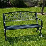 Belleze 50'' Garden Backyard Bench, Metal, Black