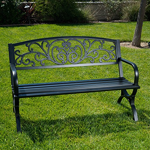 Cheap Belleze 50″ Garden Backyard Bench, Metal, Black