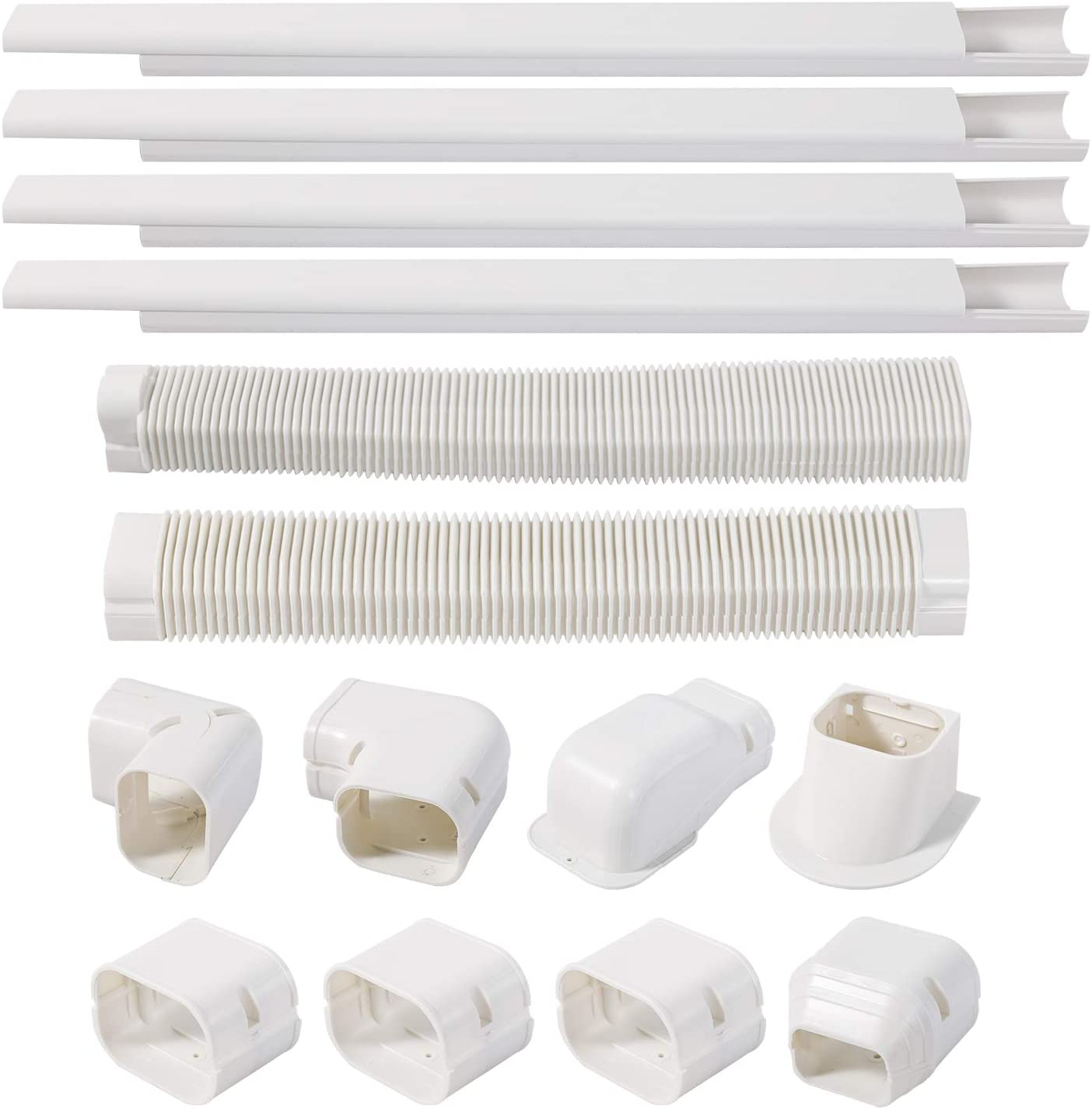 TAKTOPEAK 3'' 17 Ft PVC Decorative Line Cover Kit for Ductless Mini Split Air Conditioner-Full Set, No Other Parts Needed