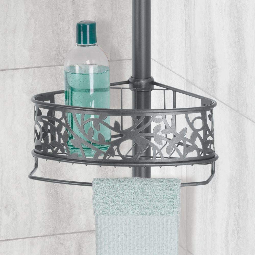 Silver mDesign Shower Tray for Hanging Shampoo Bottles and Gels Practical Shower Caddy Made of Steel with Plastic Suction Cups Ideal Shower Shelf Without Drilling