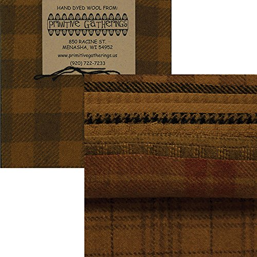 Primitive Gatherings Hand Dyed Wool Mustard Charm Pack 10 5-inch Squares PRI 6009 by Primitive Gatherings