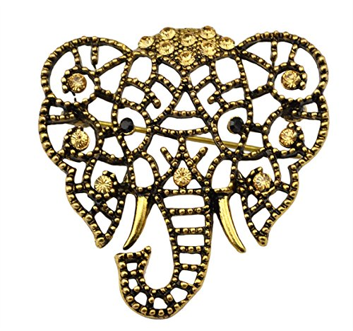 Idealway Vintage Gold Silver Plated Crystal Rhinestone Hollow Elephant Brooches Pin for Women (Yellow)
