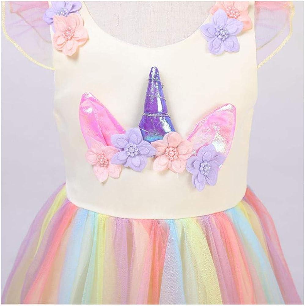 para Fiesta de Cosplay Boda URAQT Disfraz Unicornio Ni/ña Disfraz de Princesa Vestidos Unicornio Ni/ña Partido,Vestido De Princesa