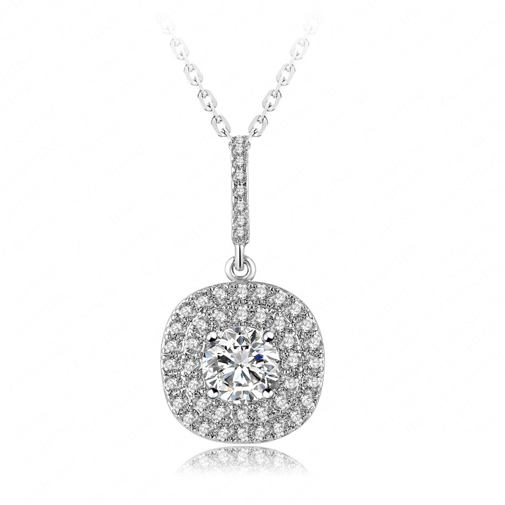 Evertrust (TM)2016 New Year Wedding Pendant Necklaces Real Platinum Plated Inlay Cubic Zirconia Luxury Necklace For Women CNL0002-B