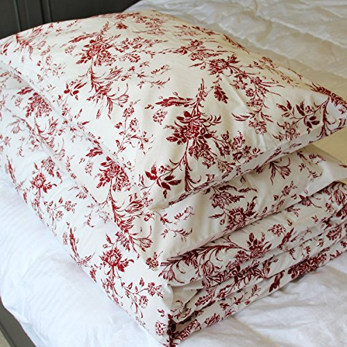 French Country 100% Full/queen Cotton Floral Pattern Red White Background Bedding Set with One Duvet Cover and 2 Pillowcases 200 Thread Count Premium (French Country Set Bed)