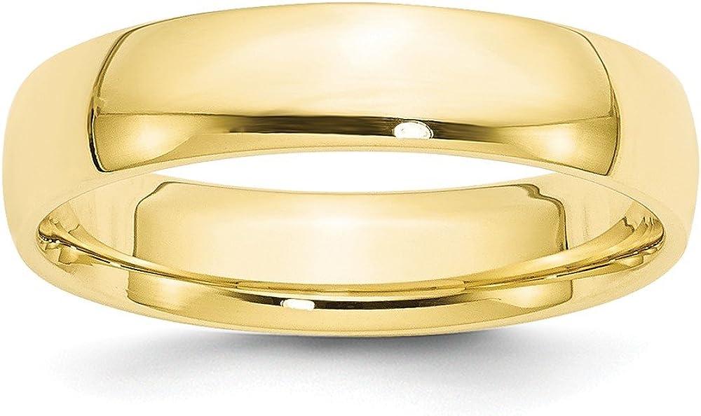 10k Yellow Gold 5mm LTW Comfort Fit Mens Womens Wedding Anniversary Band
