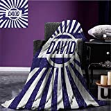 David Printed blanket Boys Birthday Theme Retro Style Graphic Letters on Grungy Navy Color Stripes minion blanket Navy Blue and White size:60''x80''