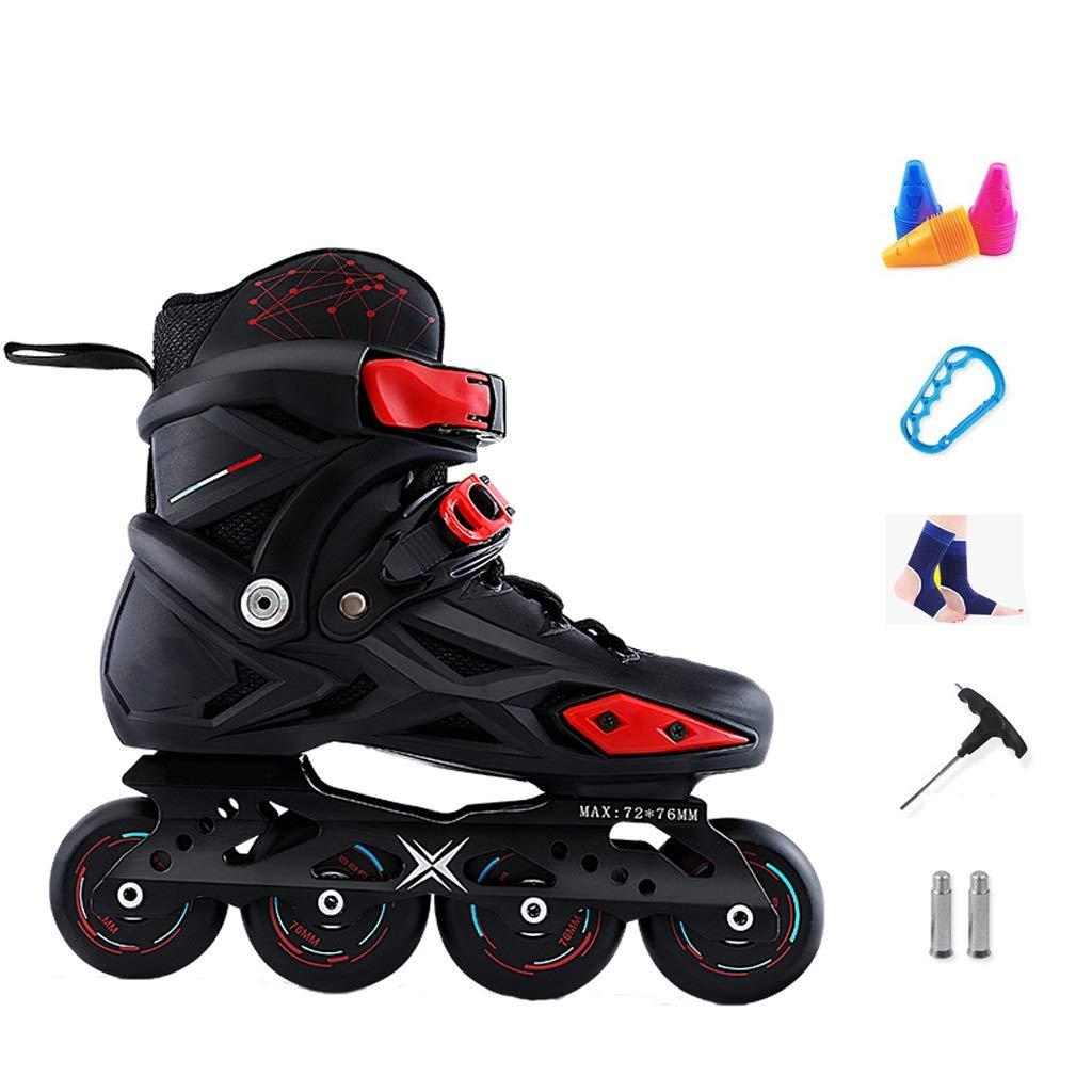 YANGXIAOYU Inline Skates, Full Flash Wheels Inline Skates Set Red Blue Suitable for Men and Women Boys Girls (Color : Black, Size : 39 EU/7 US/6 UK/24.5cm JP)