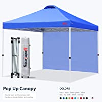 MASTERCANOPY Patio Pop Up Instant Shelter Beach Canopy with 1 Side Wall, Better Air Circulation Outdoor Canopy with Wheeled Carry Bag and 4 Sand Bags(6.6x6.6,Blue)