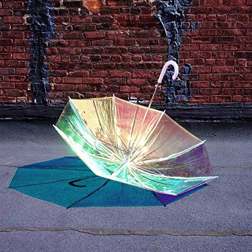 FCTRY Holo Umbrella, Iridescent Holographic Clear, 46 Inch Wide, White